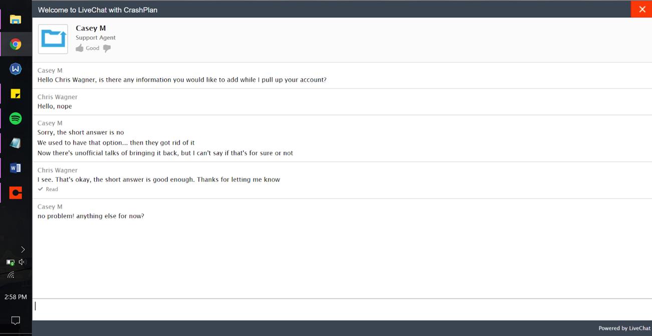 crashplan chat